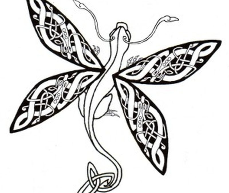 Celtic dragonfly tattoo design