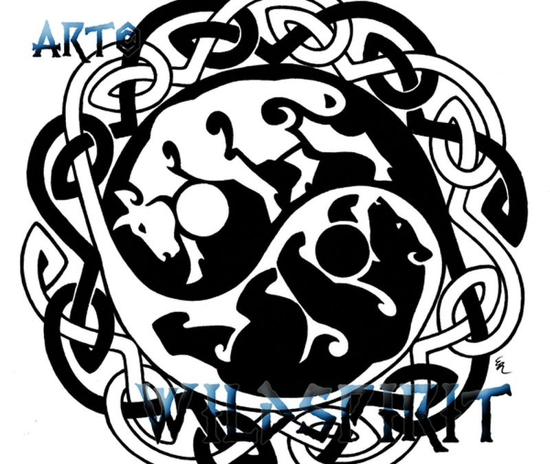 Celtic yin yang bear bull tattoo design