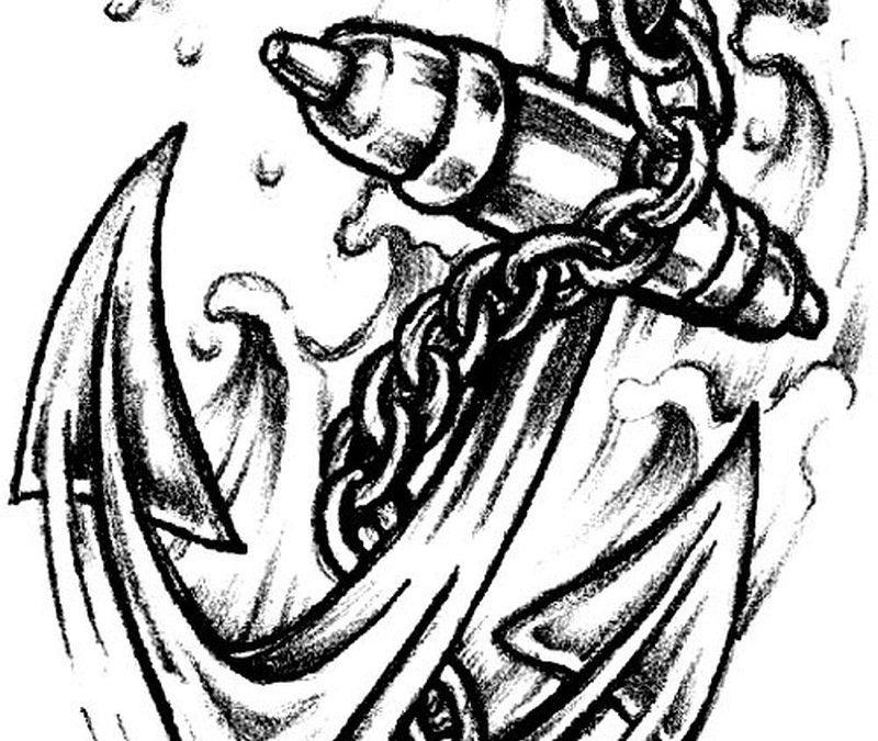 Chain anchor tattoo design