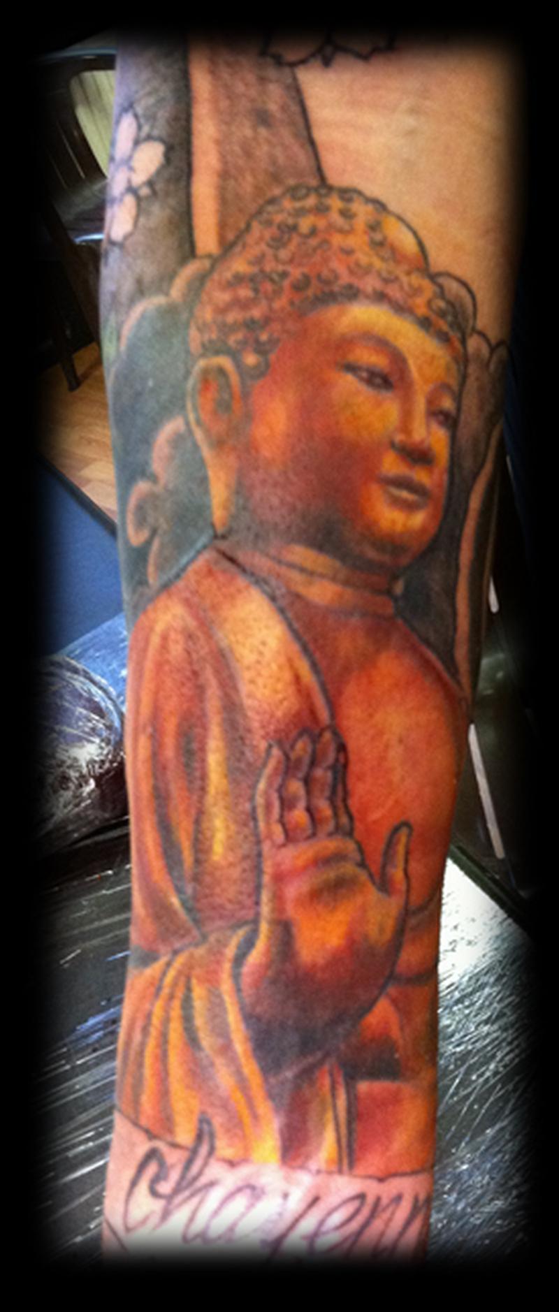 Charming buddha religious tattoo design
