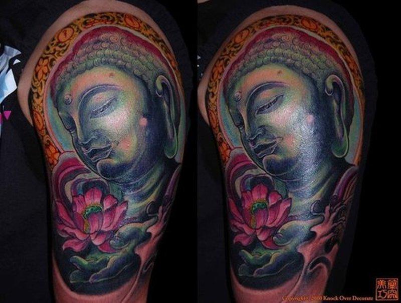 Charming half sleeve buddha flower tattoo design