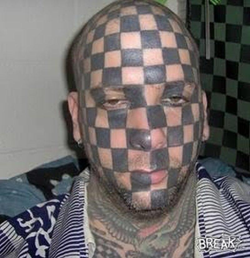 Checker head funny tattoo design