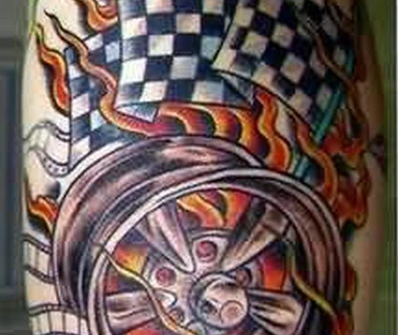 Checkered flag fire nd flame tattoo design