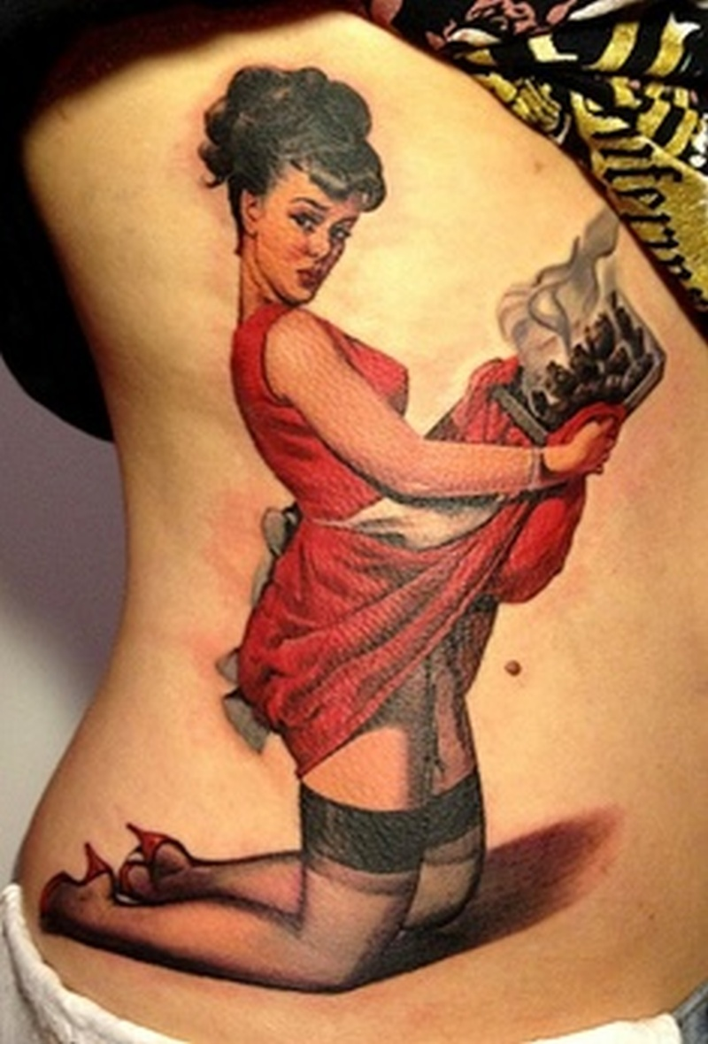 Chef pin up girl tattoo design