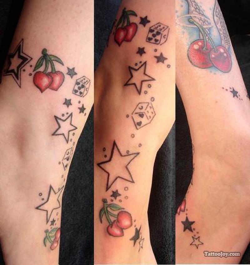 Cherries stars n dice tattoo design