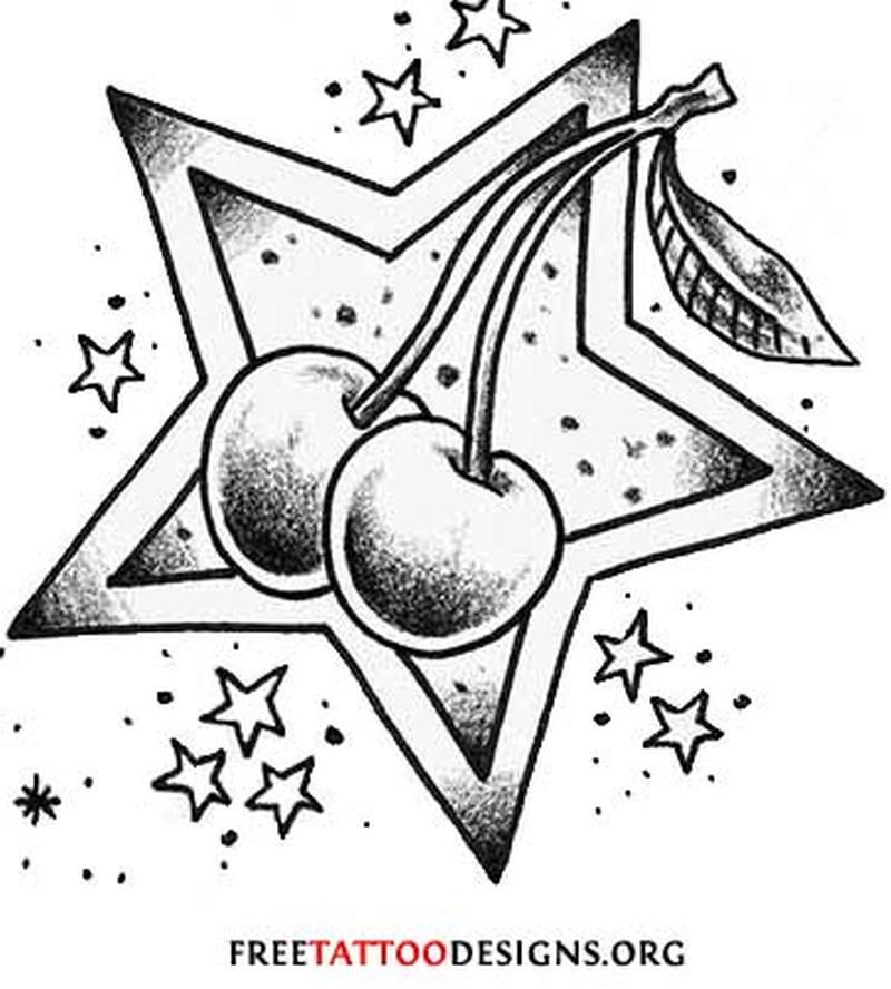 Cherries tattoo design with stars