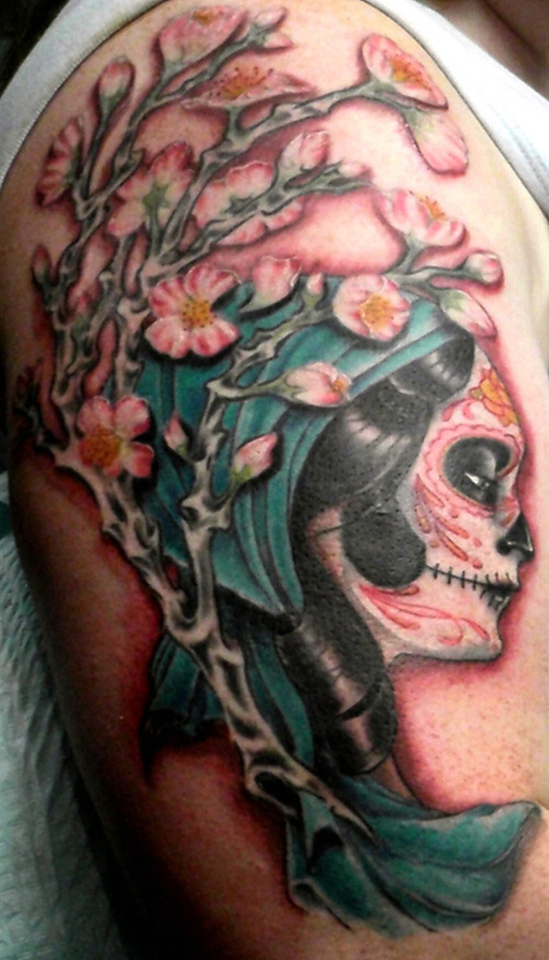 Cherry blossom gypsy tattoo on shoulder
