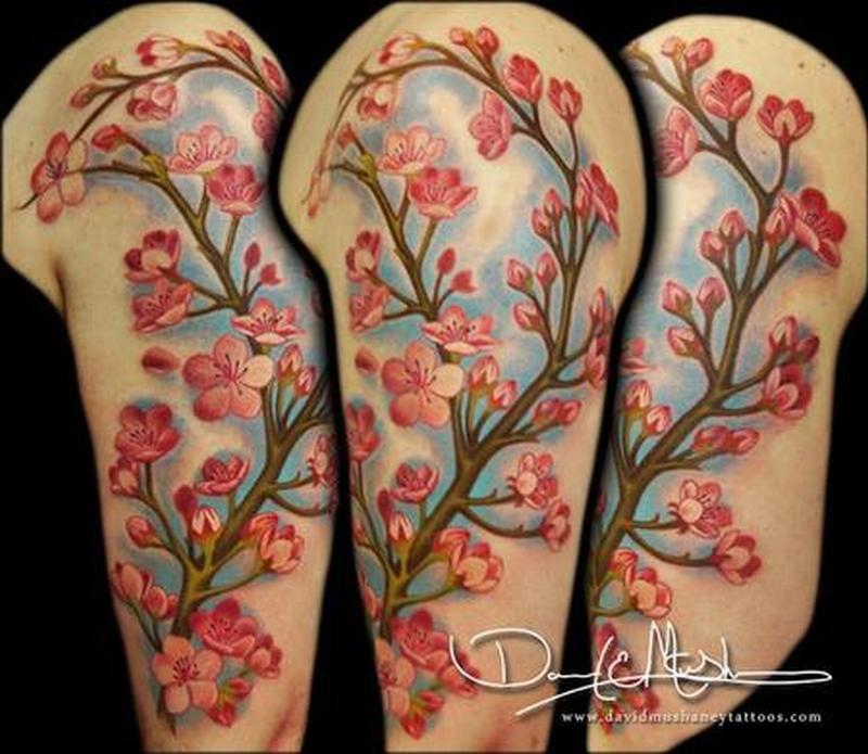 Cherry blossom half sleeve tattoo design