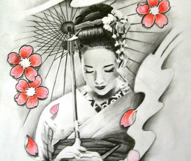 Cherry blossom n geisha tattoo design