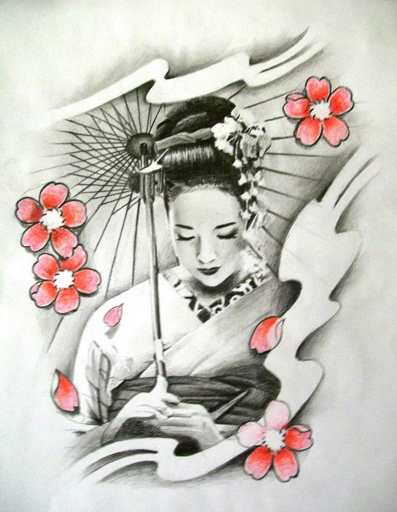 Cherry blossom n geisha tattoo design