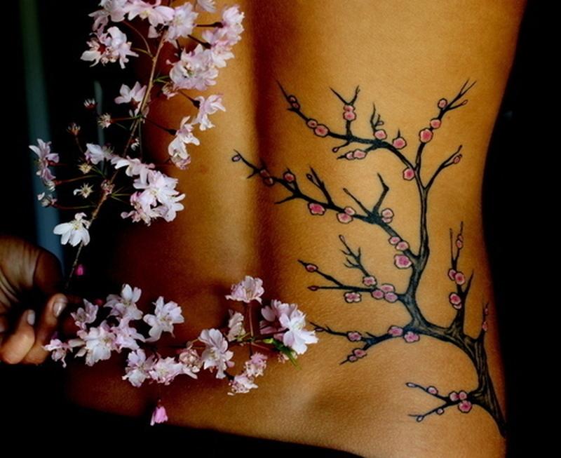 Cherry blossom tattoo for women