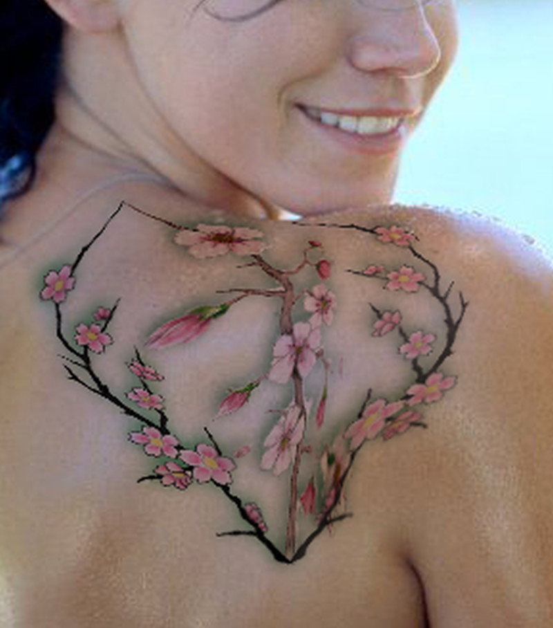 Cherry blossom tattoo on shoulder blade