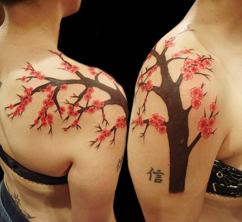 Cherry blossom tree tattoo on shoulder