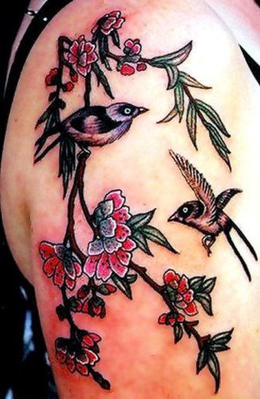 Cherry blossom with birds tattoo design