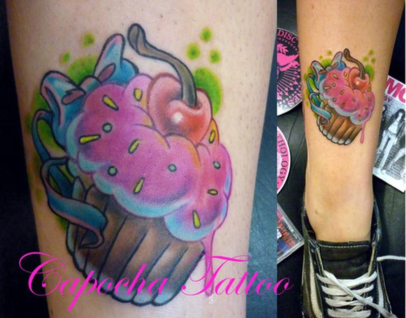 Cherry cake tattoo on leg