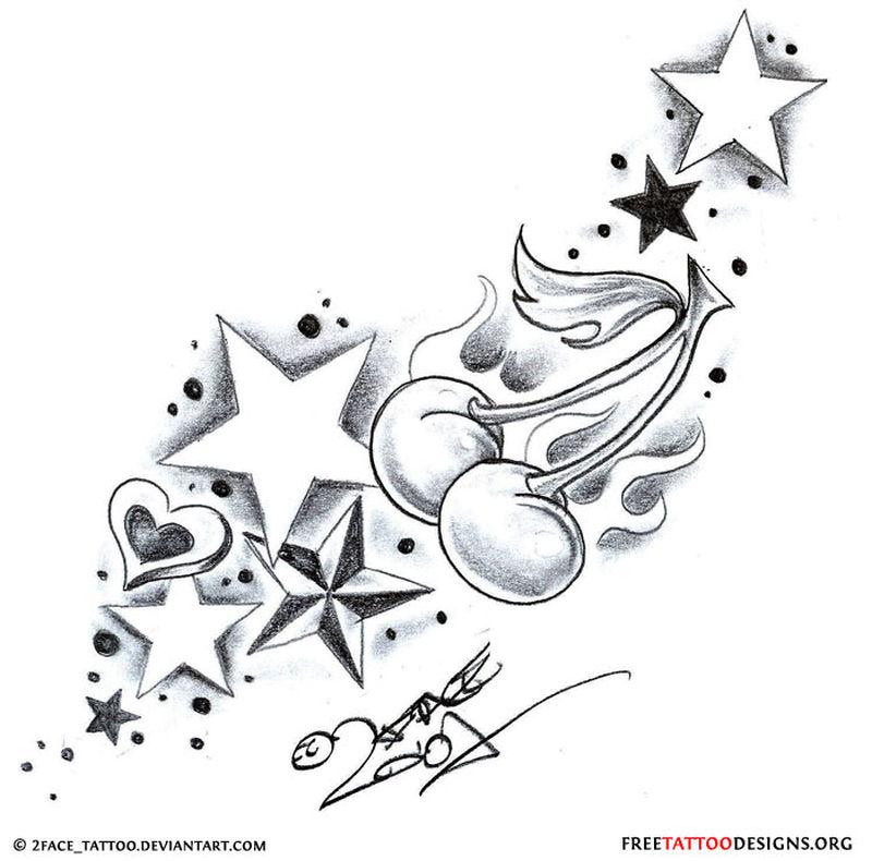 Cherry stardust tattoo design