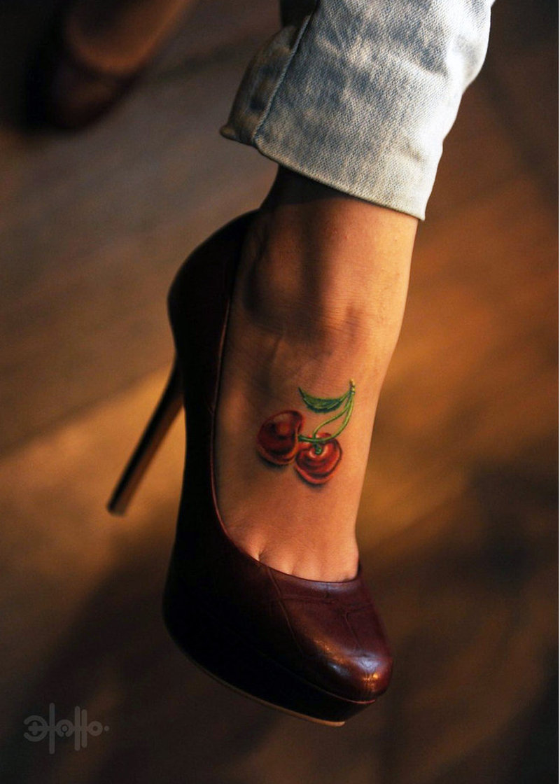 Cherry tattoo for foot