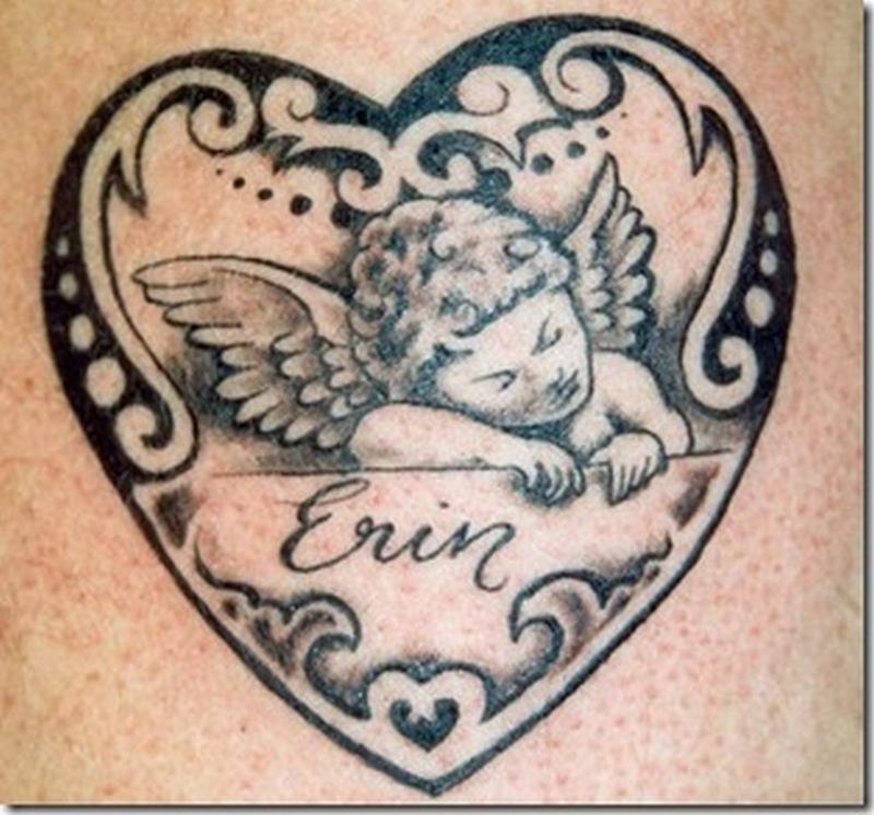 Cherub heart tattoo design 2