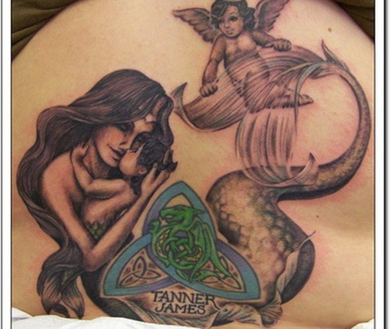 Cherub mermaid n celtic knot image tattoo