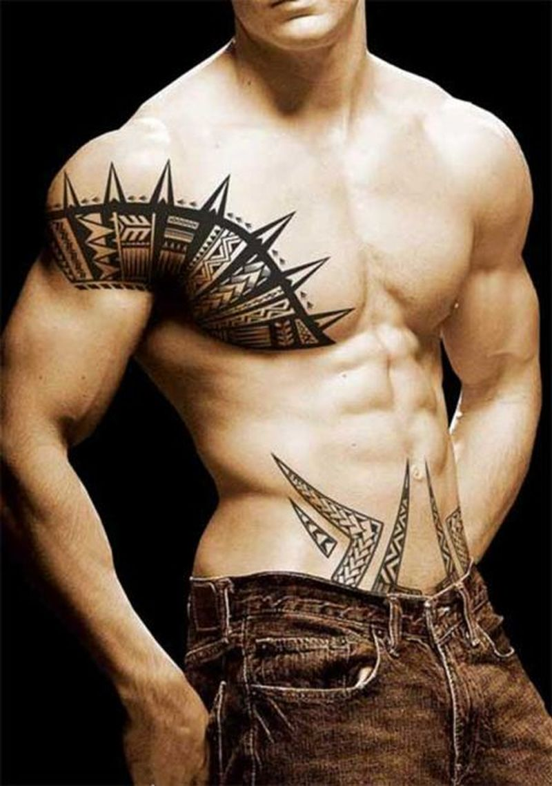 Chest and shoulder tribal tattoo