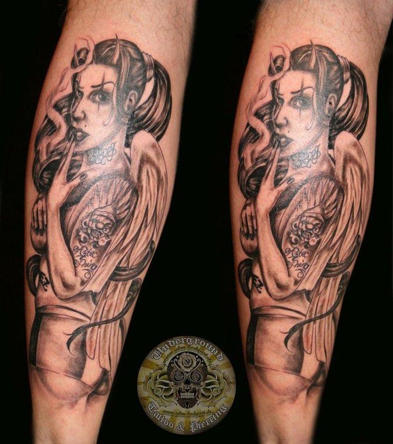 Chicana devil girl tattoo design