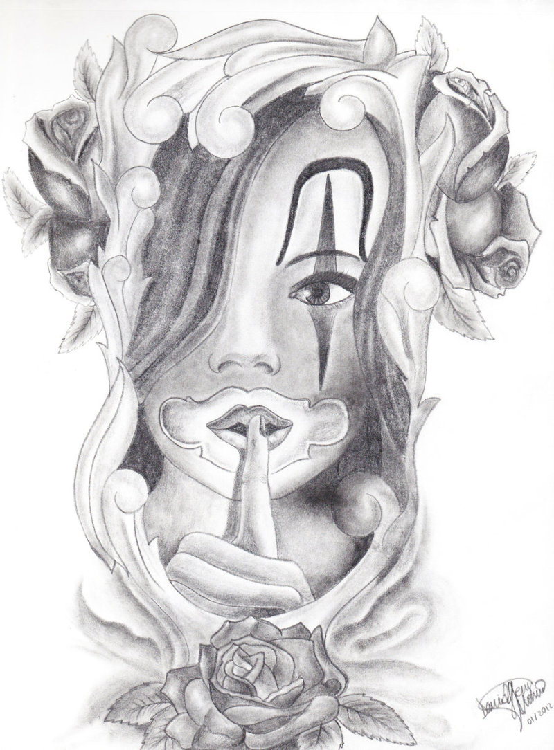 Chicano gangsta girl tattoo drawing