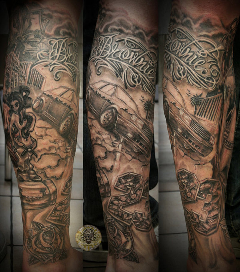Chicano girl car tattoo design