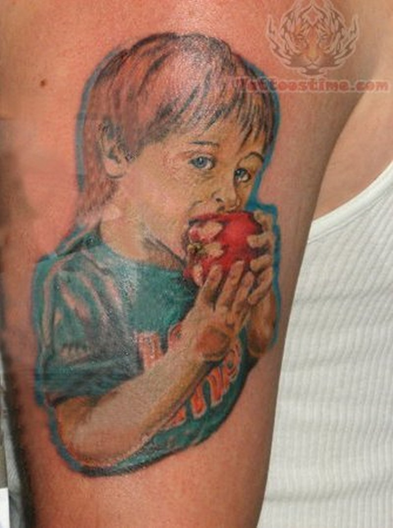 Child eating apple tattoo design