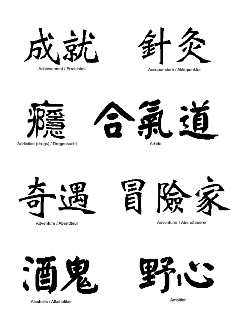 Chinese characters tattoo designs