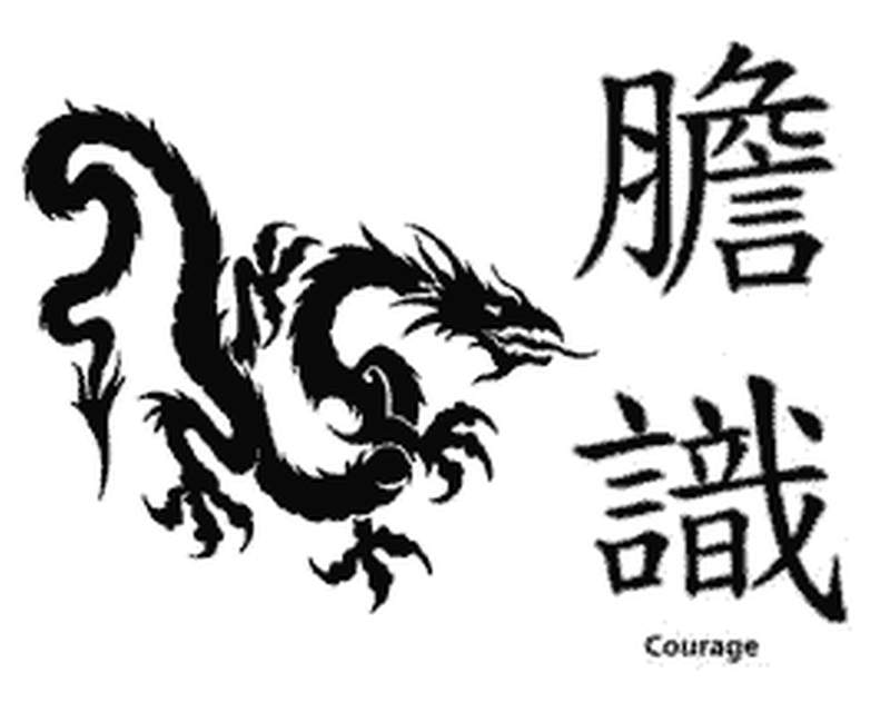 Chinese dragon courage tattoo design