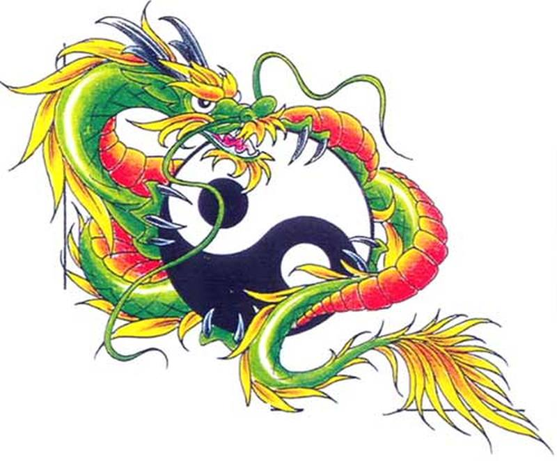 Chinese dragon with ying yang tattoo design