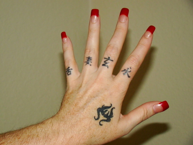 Chinese letters tattoo on fingers
