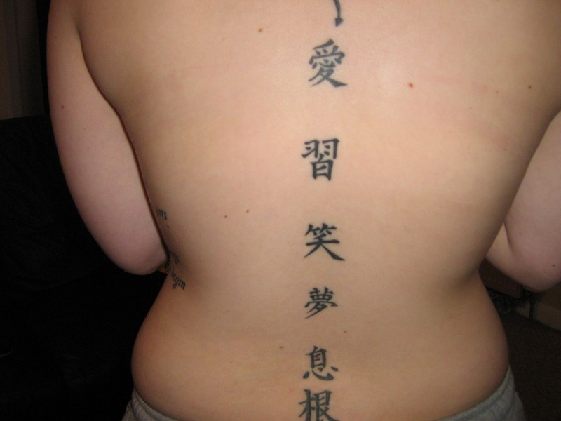 08c494c98 Chinese symbols tattoo gracing the back in a straight line - Tattoos ...