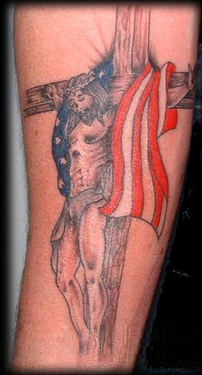 Christ cross us flag tattoo design