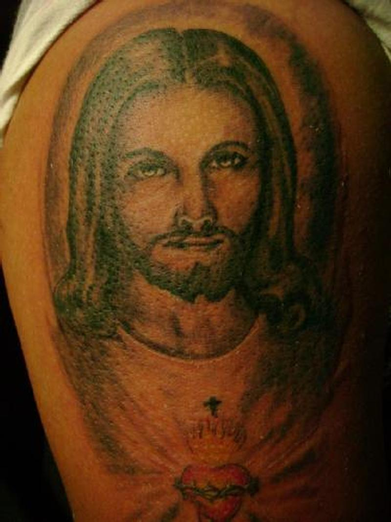 Christ jesus n sacred heart tattoo design
