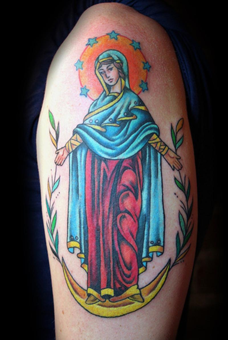Christian virgin mary tattoo on biceps