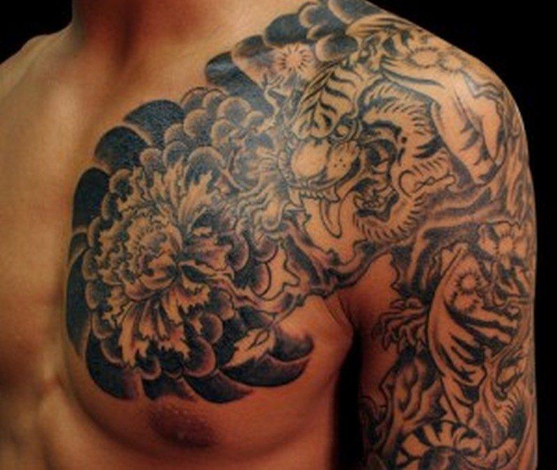 Chrysanthemum dragon tattoo for men