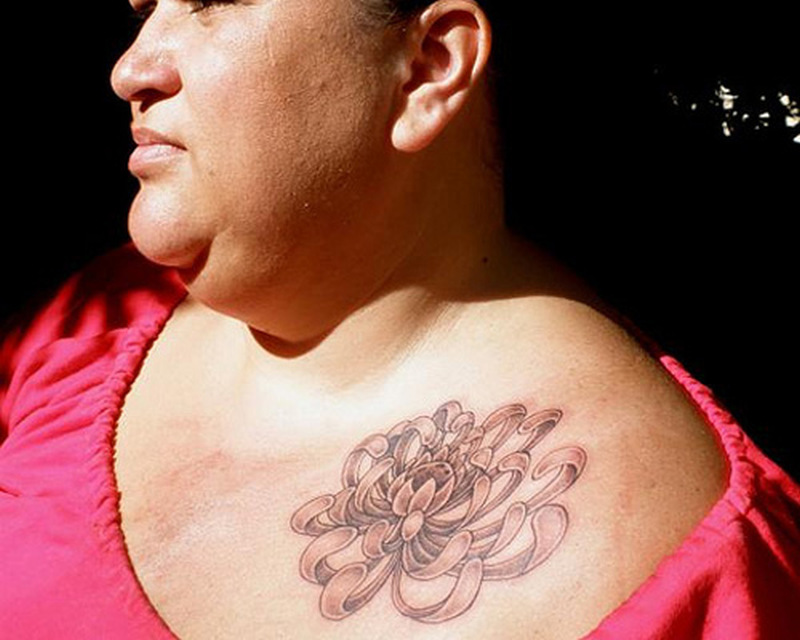 Chrysanthemum tattoo on front