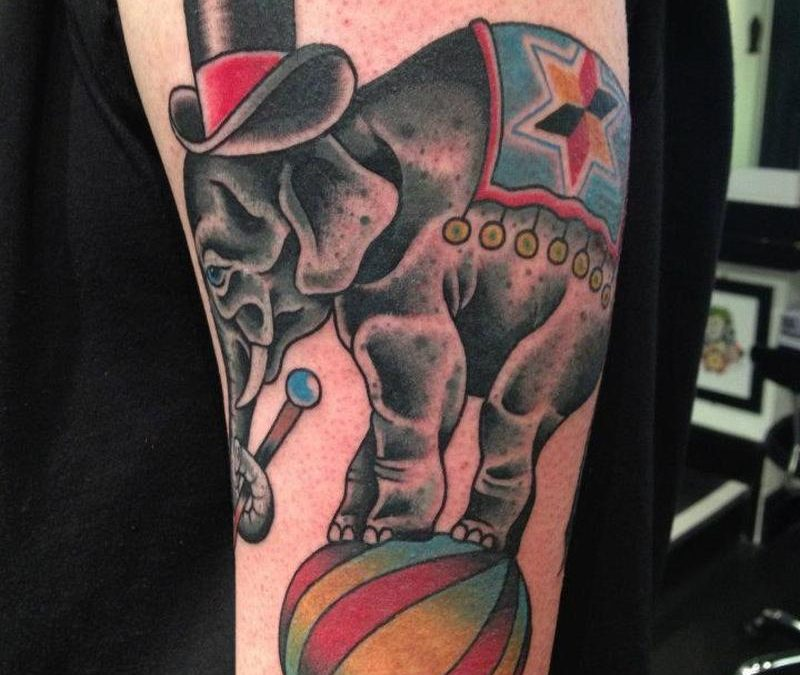 Circus elephant tattoo design