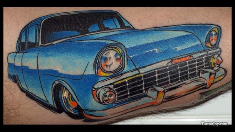 Classic car image tattoo