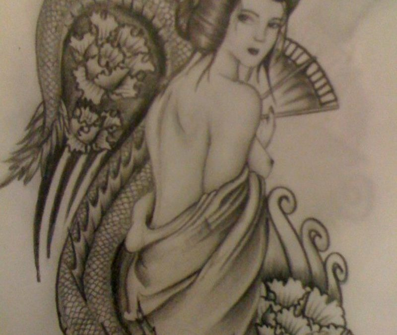 Classic geisha tattoo design