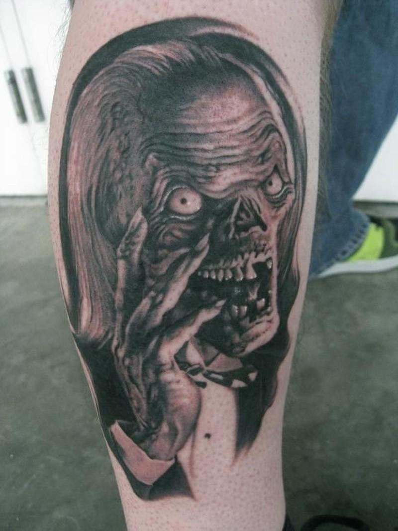 Classic nightmare horror tattoo on leg