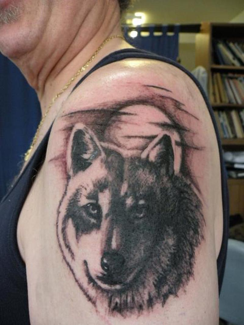 Classic wolf tattoo