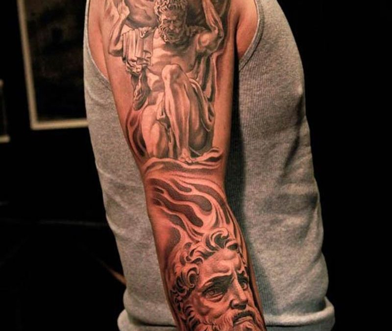 Classical greek sleeve tattoo design for men