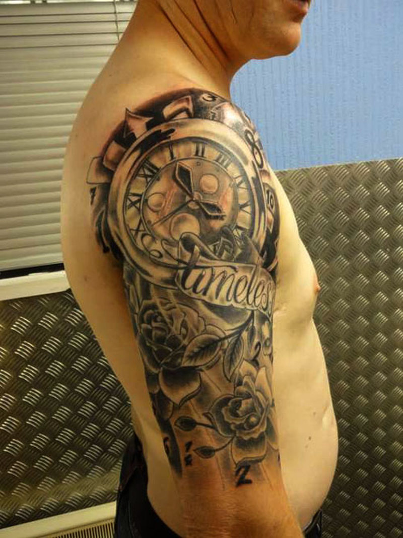 a35ab7bcd Clock half sleeve tattoo designs for men - Tattoos Book - 65.000 ...