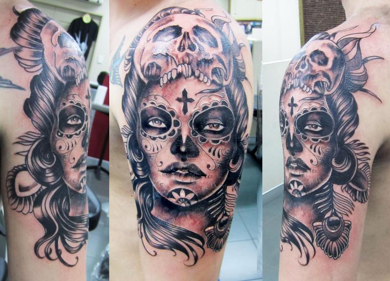 Close up skull head clown faced girl tattoo design