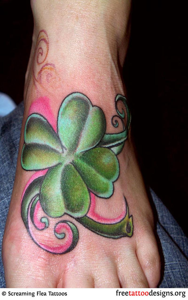 Clover foot tattoo design