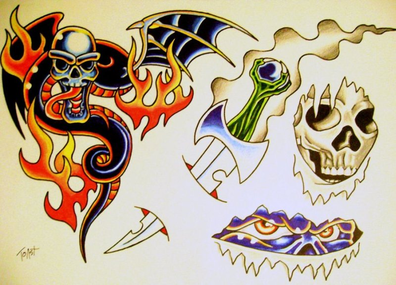 Clown flames tattoo design