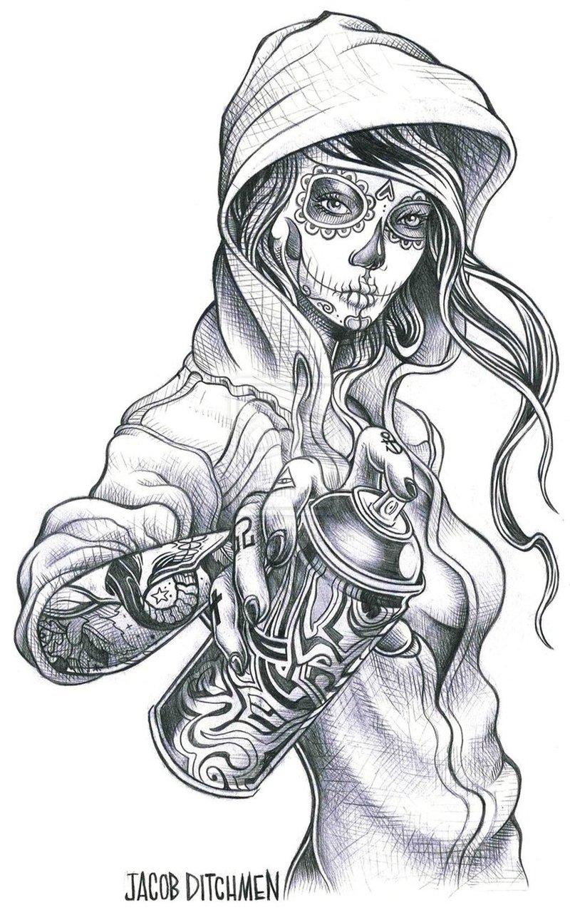 Clown girl tattoo design 3