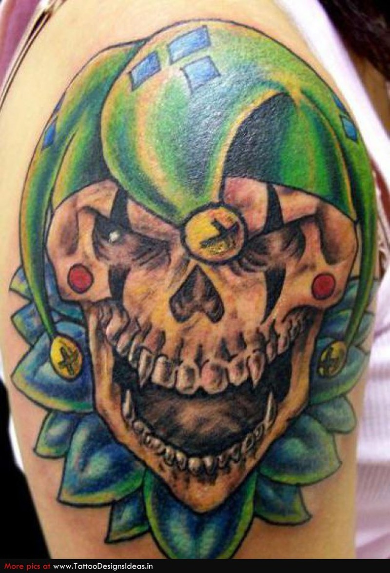 Clown skull tattoo on shoulder